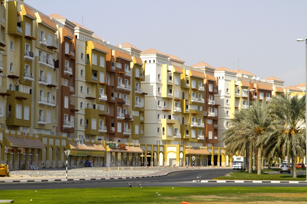 Exterior photos of various buildings of International City